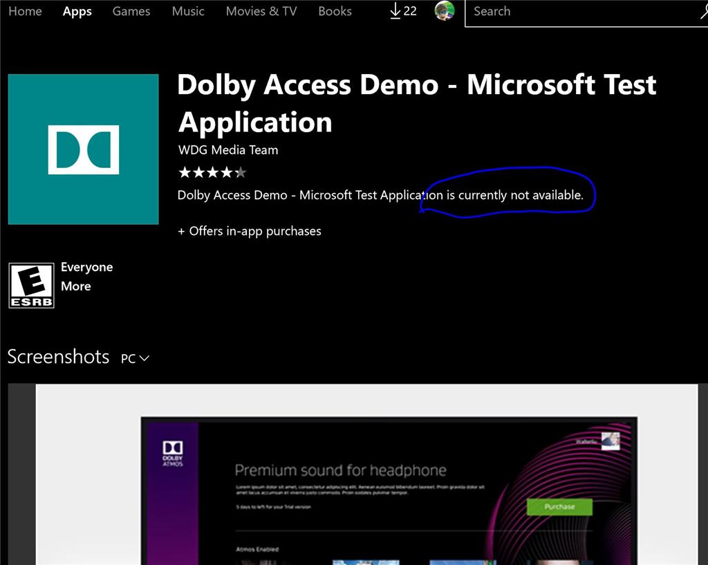 dolby access demo dolby atmos microsoft community. Black Bedroom Furniture Sets. Home Design Ideas