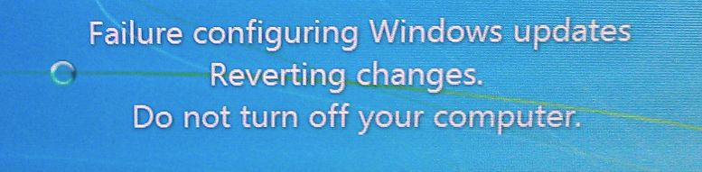 failed to configure windows updates reverting changes windows 7