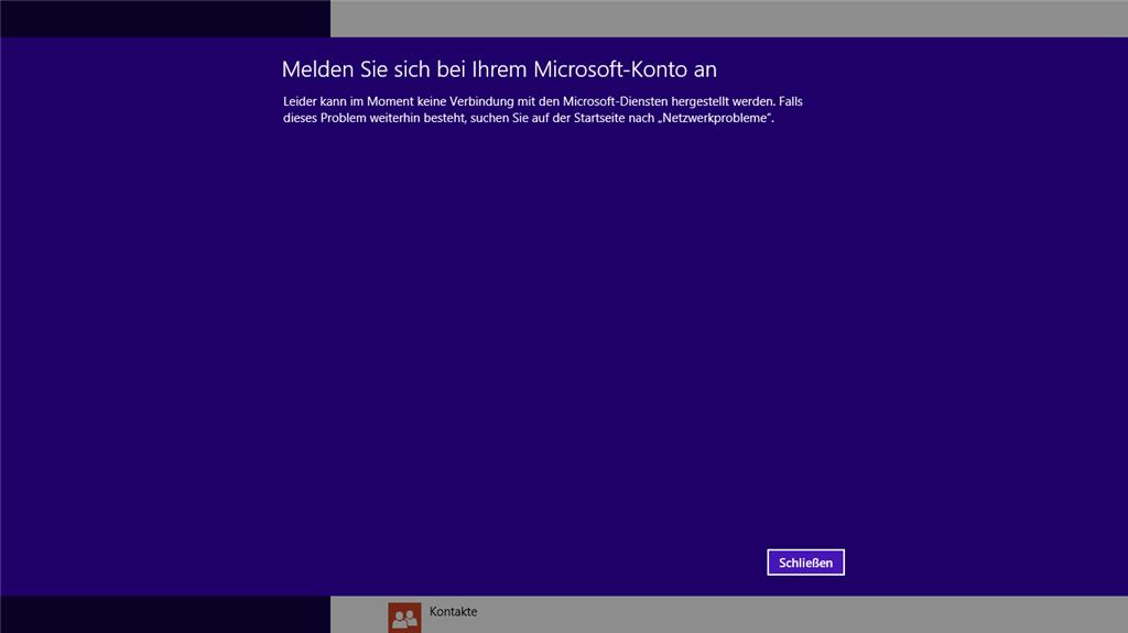 Microsoft Account kann nicht hinzugefügt werden, keine Verbindung ...