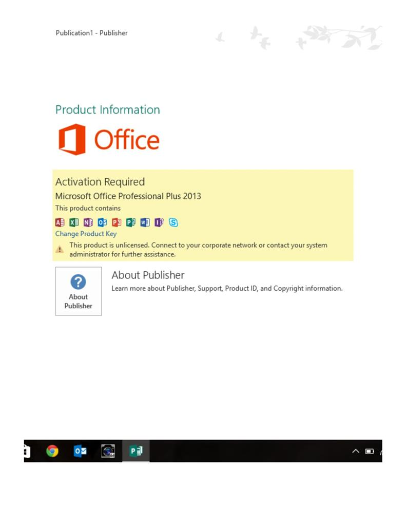 Microsoft Office 2013 Professional no longer activated after