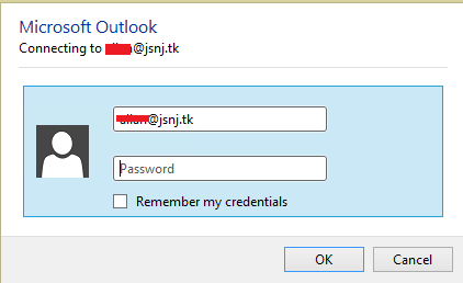 I need a prompt for my password on Outlook 2016 - Microsoft