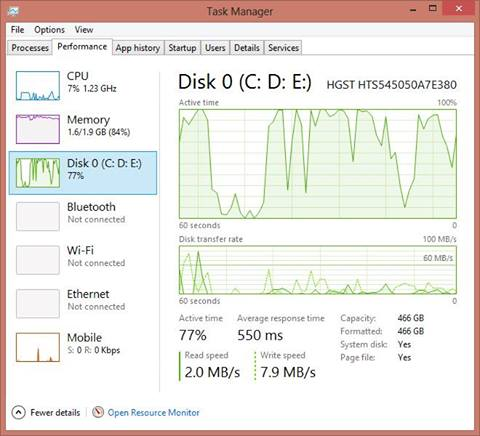 my hard drive is always running at 100 windows 8.1