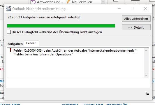 Outlook 2003 Fehler Beim Ausführen Der Operation Senden Empfangen