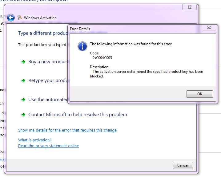 windows 7 activation code blocked