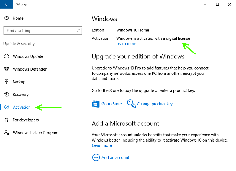 windows 10 digital activation