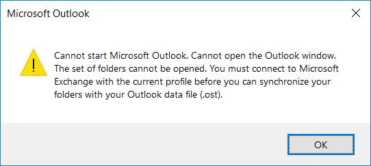 Windows 10/ Outlook 2016 - Cannot start / Outlook  Cannot