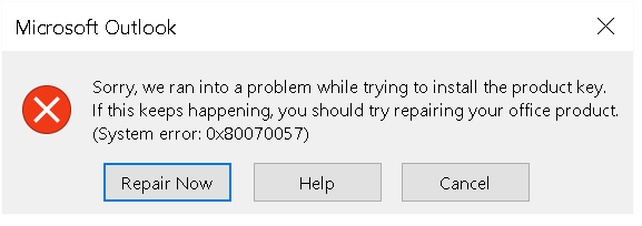Outlook 2016 activation error on Office265 account: System