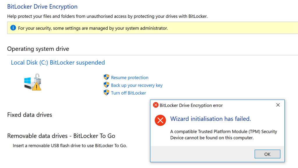 Bitlocker and Trusted Platform Module problems - Microsoft
