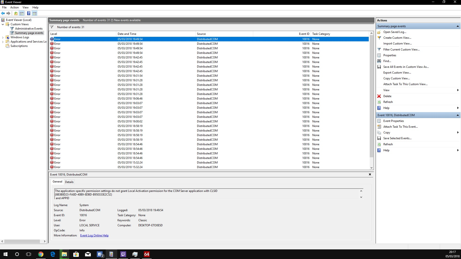 Persistent PC freeze and crash with Dcom 10016 being the