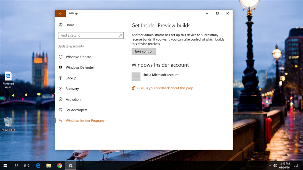 get insider preview builds take control