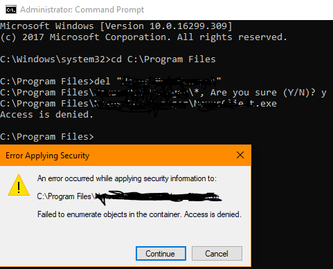 Can't Delete a Folder