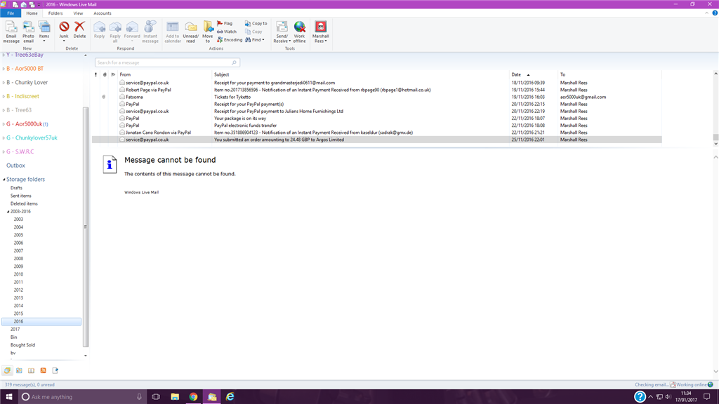 Windows Live Mail (Windows10) Message cannot be found HELP