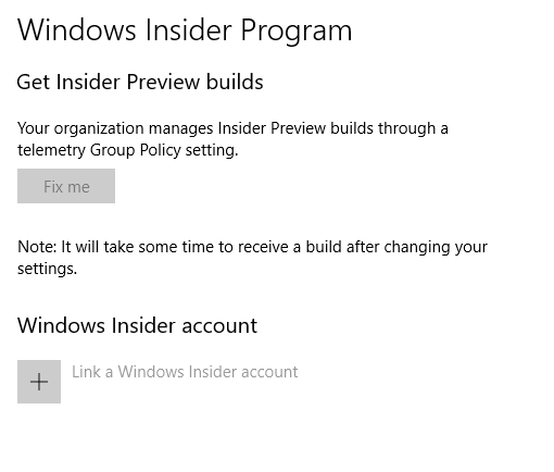 get insider preview builds greyed out