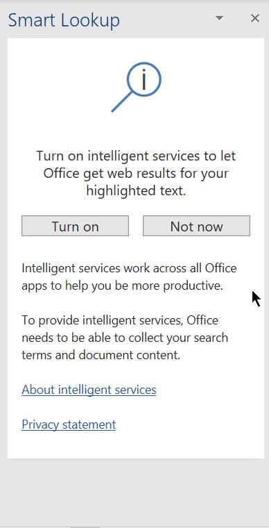 Smart Lookup not working - Microsoft Community