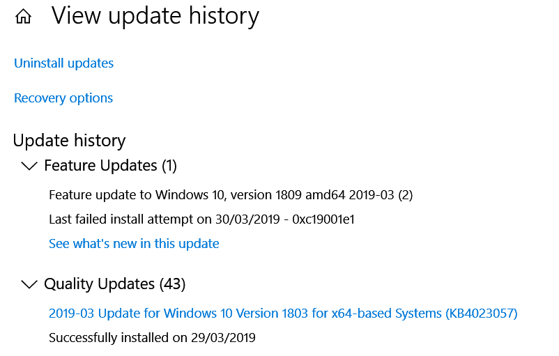 feature update to windows 10 version 1809 slow
