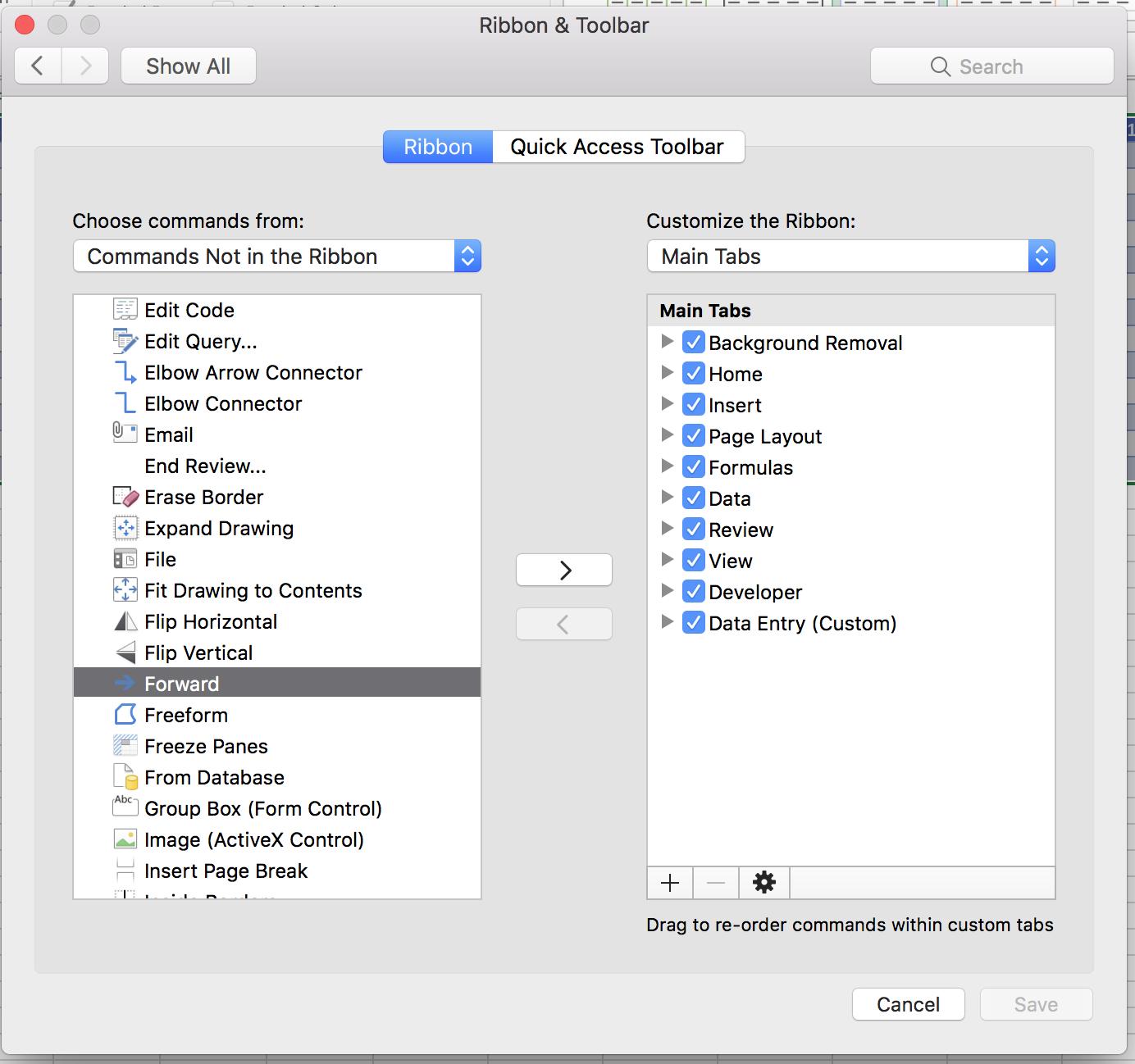 Data Form Entry missing on Mac - Microsoft Community