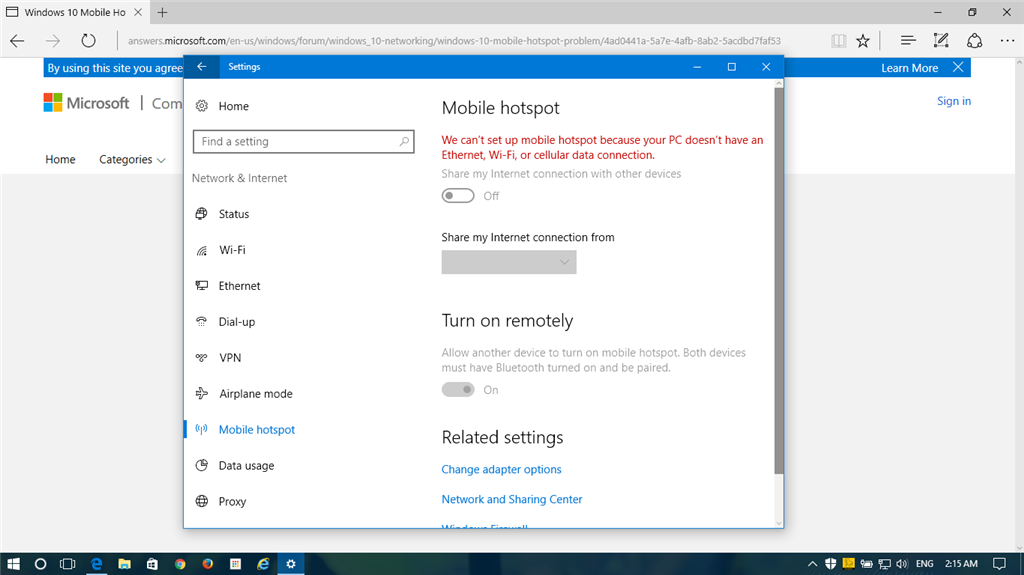 Windows 10 Mobile Hotspot Problem - Microsoft Community