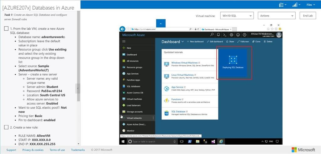 Issue With Final Lab Azure207x Databases In Azure Training