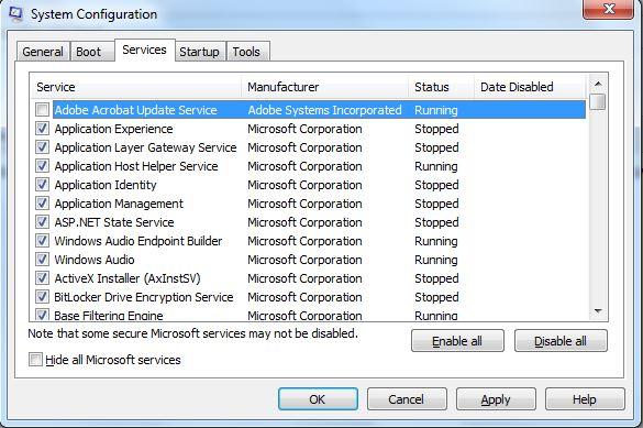 Presentación a modo de ejemplo de una lista de todos los programas que se muestran en un equipo al ejecutar msconfig y que corresponden a los que se ejecutan automáticamente al iniciar sesión en el Sistema