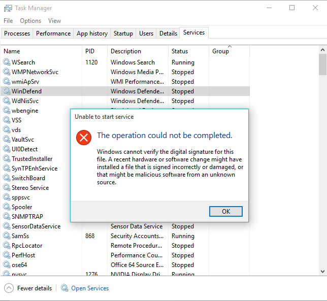 Windows Defender service stopped - Microsoft Community