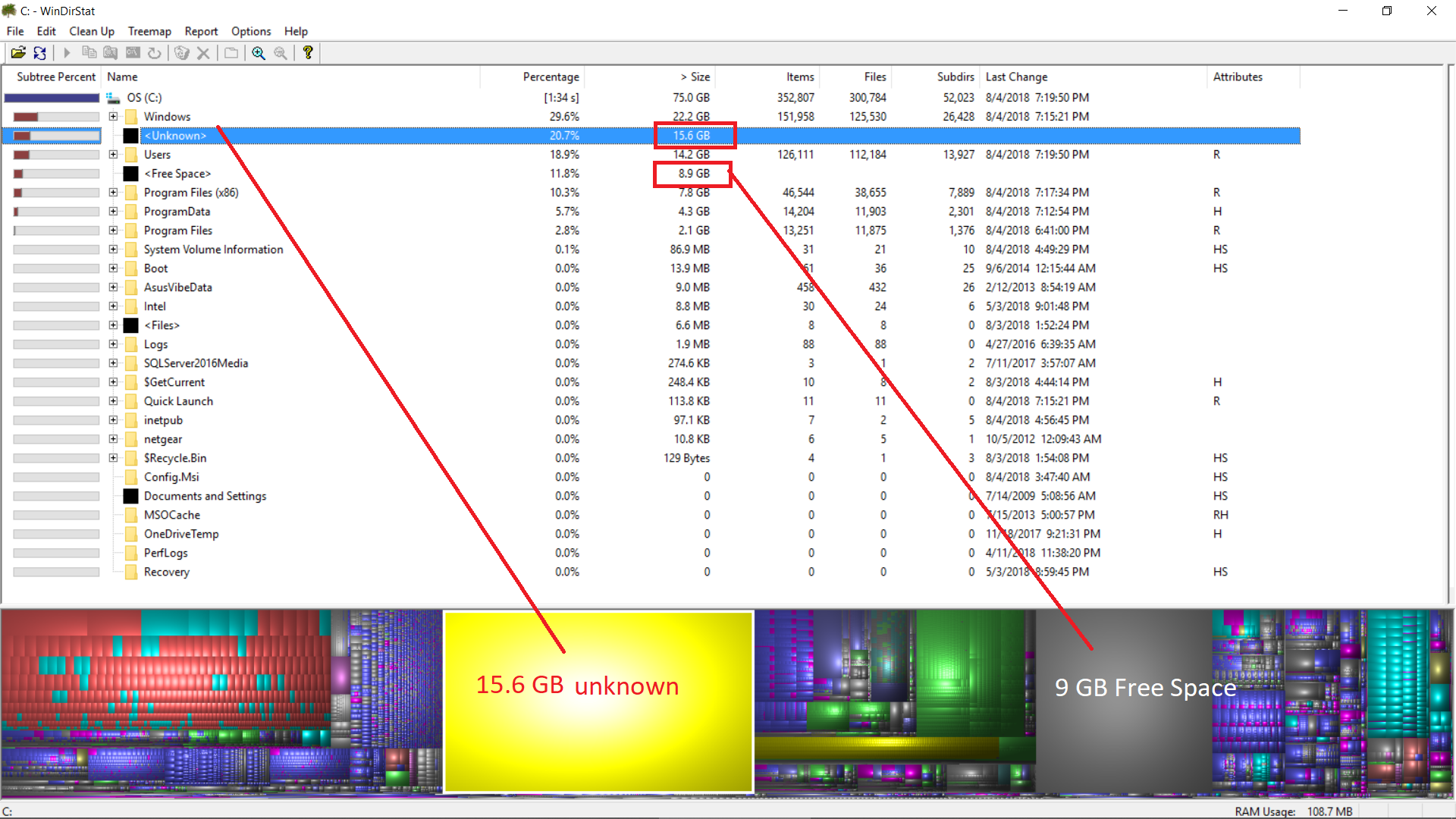 missing disk space - Microsoft Community