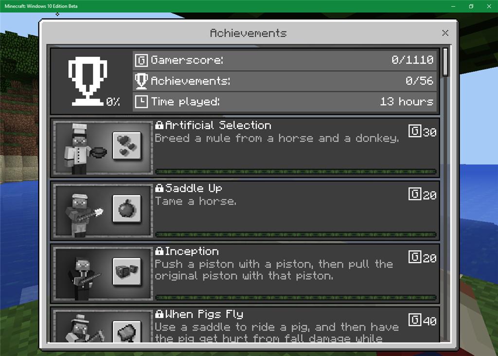 Minecraft windows 10 editionxbox achievements microsoft community minecraft windows 10 editionxbox achievements ccuart Image collections