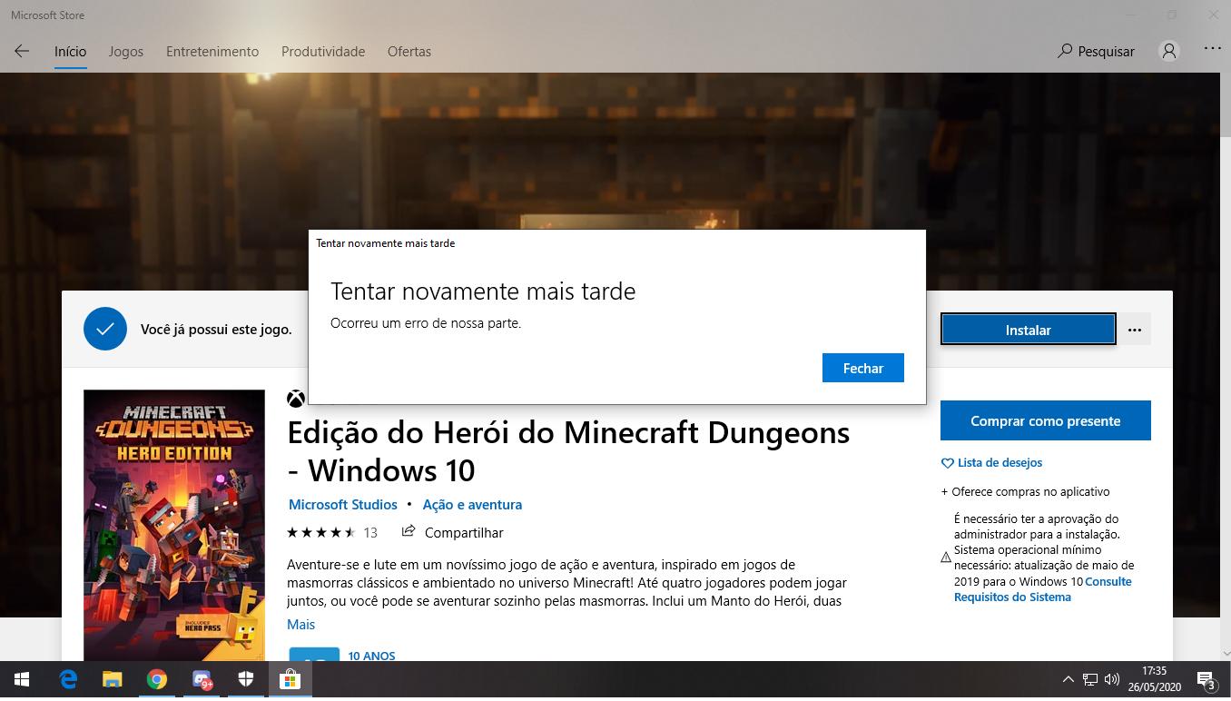 Comprei Minecraft Dungeon e não consigo instalar - Microsoft Community