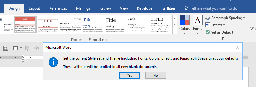 how can i change the default style set for all blank documents in