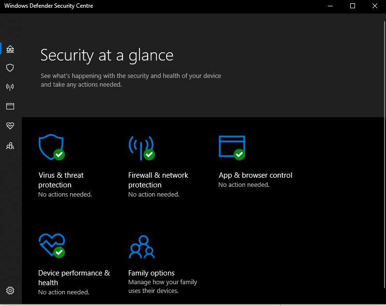 Windows Defender scurity center telling me that I