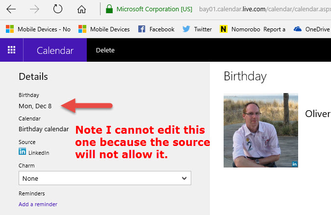 I can't edit birthday calender on my lumia 950 or PC