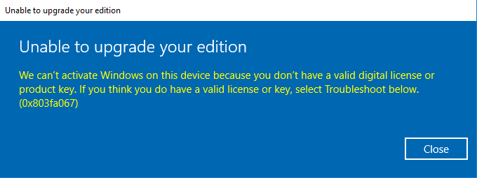 cannot upgrade to windows 10 pro from home