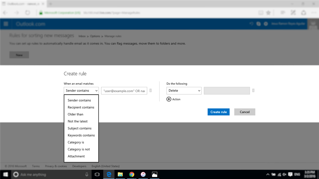 Reglas En Hotmail Y Outlook Son Diferentes