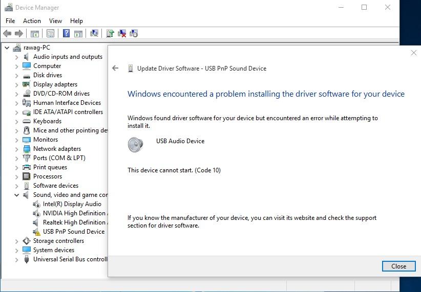 usb pnp audio device driver windows 10