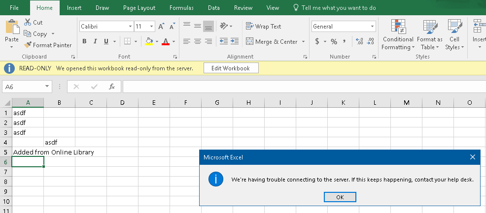 excel file read only error