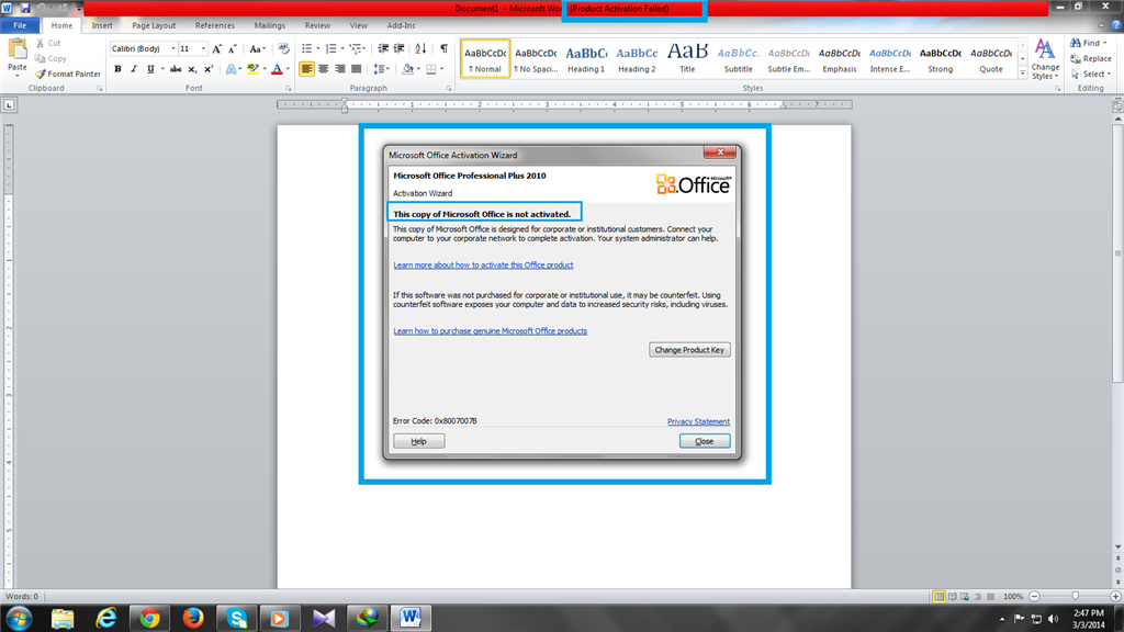 ms office 2010 product activation failed