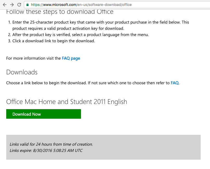 where can i find my product key for office 2011 mac