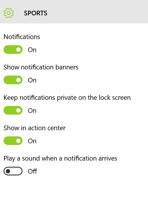 SPORTS APP - Not getting Notifications on Windows 10