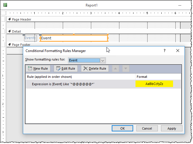 Changing the backcolor of a textbox when a report prints - Microsoft