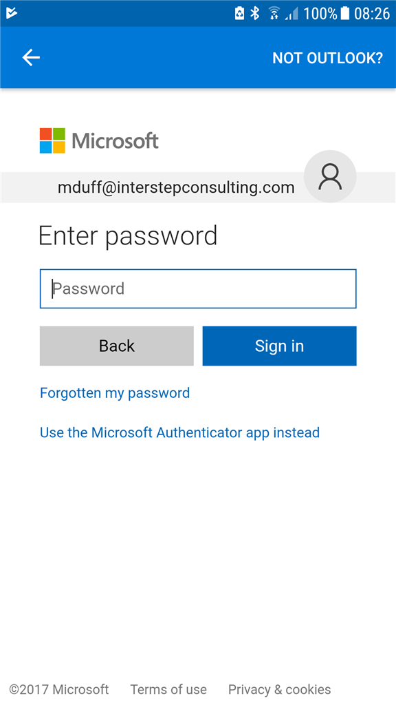 1 Microsoftmail At Abc Microsoft Com: Outlook For Android App Won't Accept Password