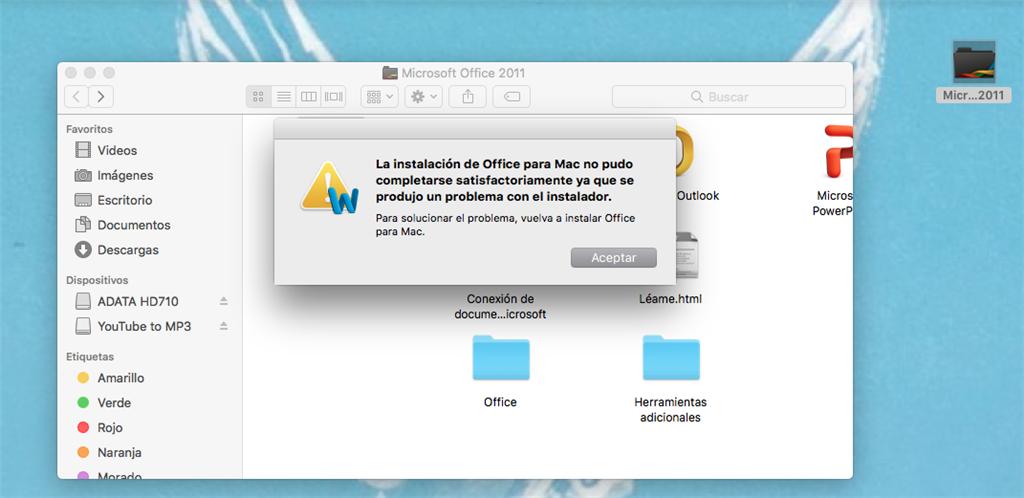 no puedo instalar office 2011 para mac