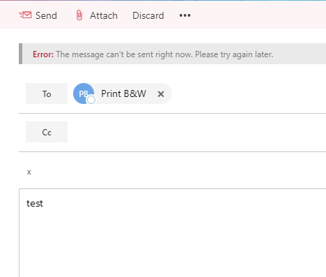 Outlook not sending emails - Error: the message can\u0027t be sent