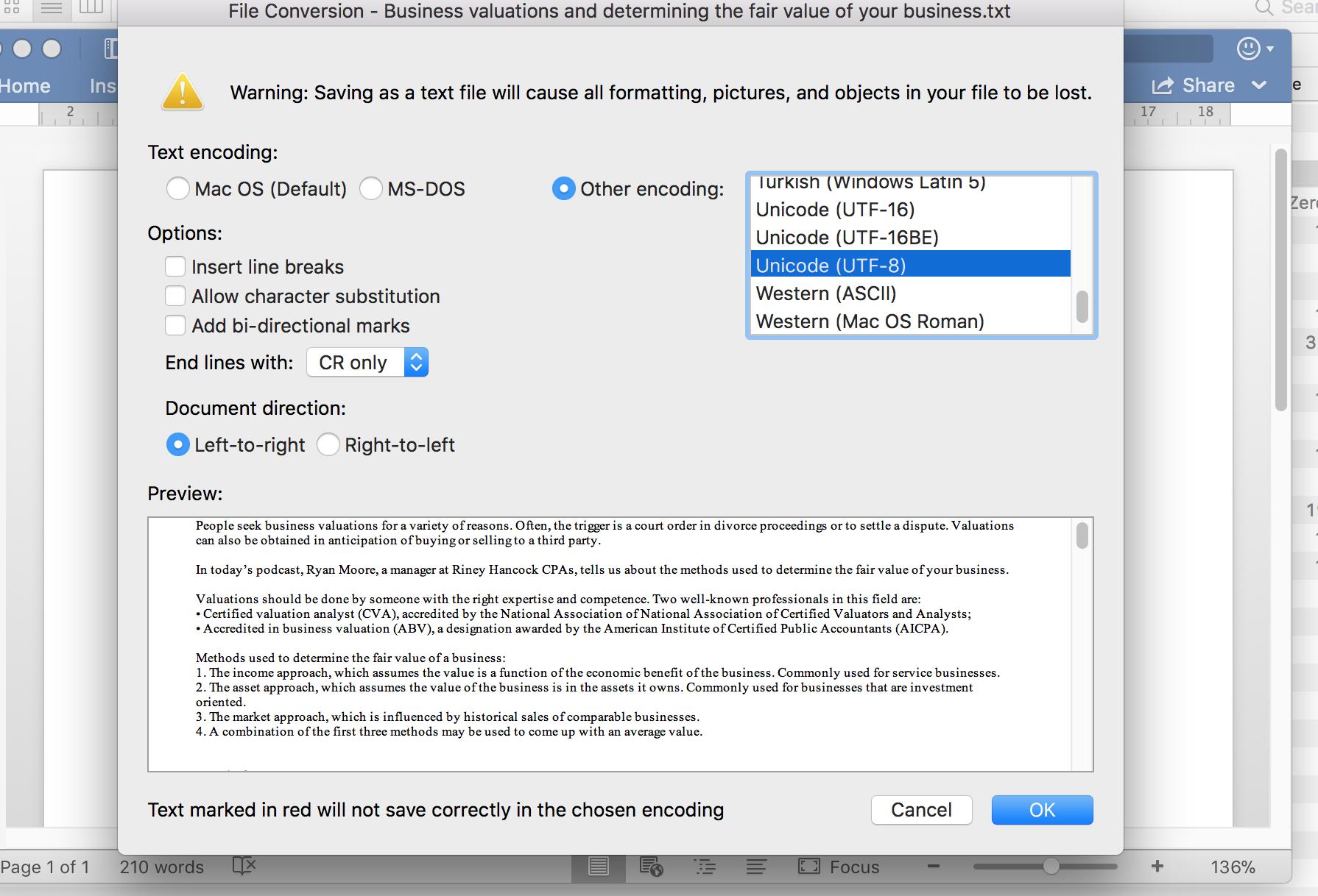 Save Word  docx as  txt with UTF-8 Encoding - Microsoft