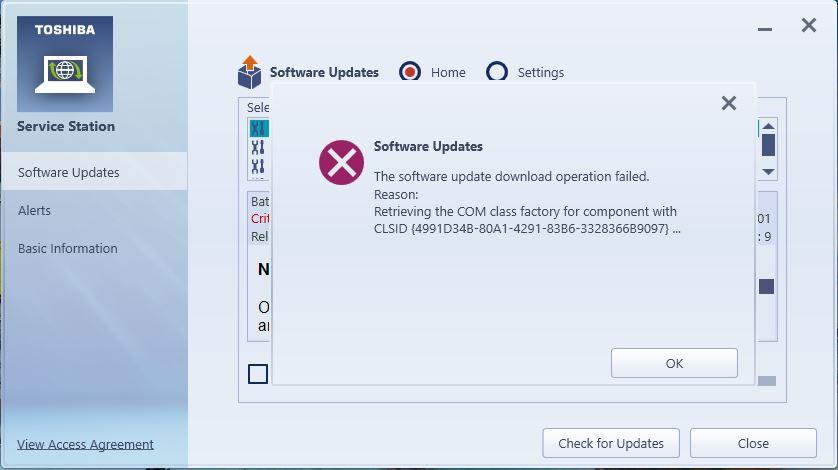 Toshiba Service Station error on Windows 10 - Microsoft Community