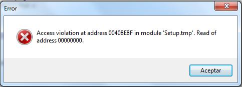 Windows 7: Error Access violation at address 00408E8F in