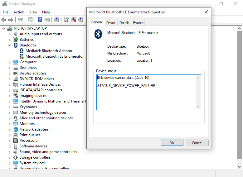 Windows 10 Microsoft Bluetooth LE Enumerator Problem
