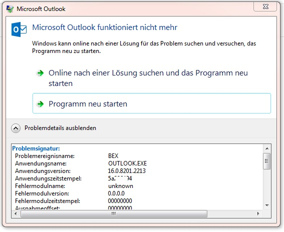 Outlook crashes when clicking Skype for Business addin to