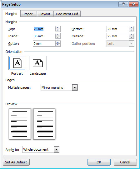different margins for odd and even pages in word - Microsoft
