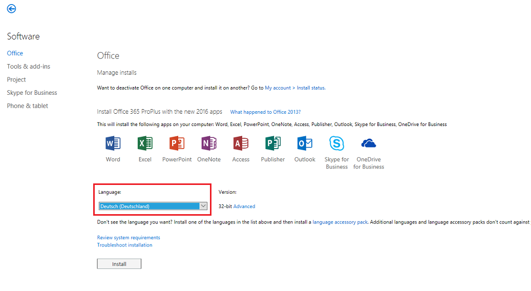 language pack for office 2016 32 bit