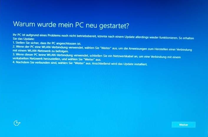 Windows 10 nach Installation aufgrund eines Problems nicht betriebsbereit