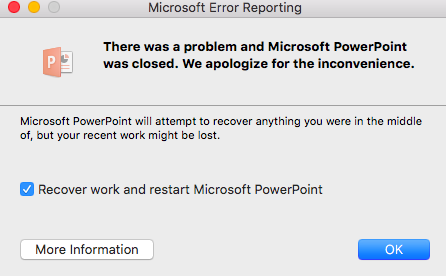 ppt for mac error reporting microsoft community